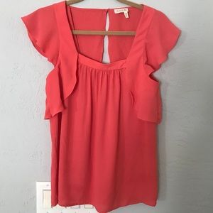 Anthropologie coral flowy top